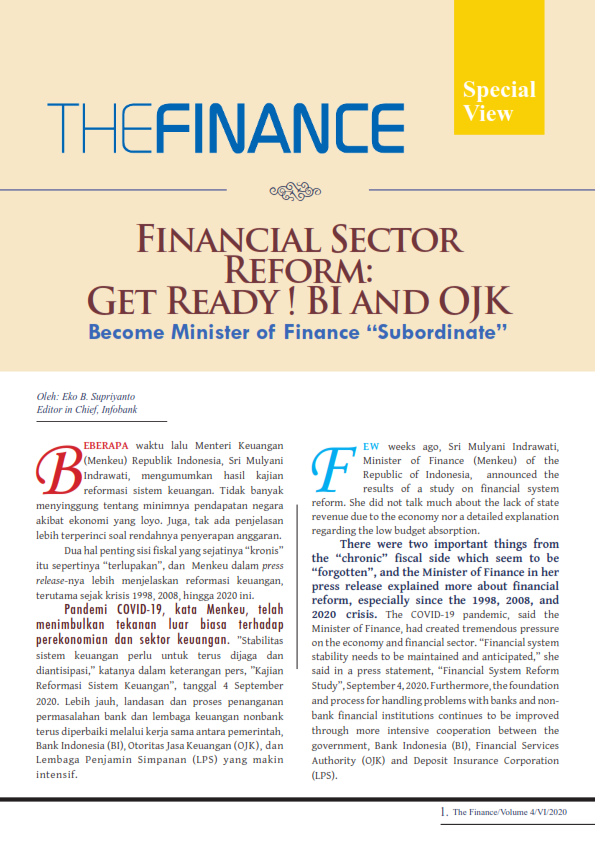 The Finance Edisi September 2020 Financial Sector Refrom: Get Ready ! BI And OJK (Free)